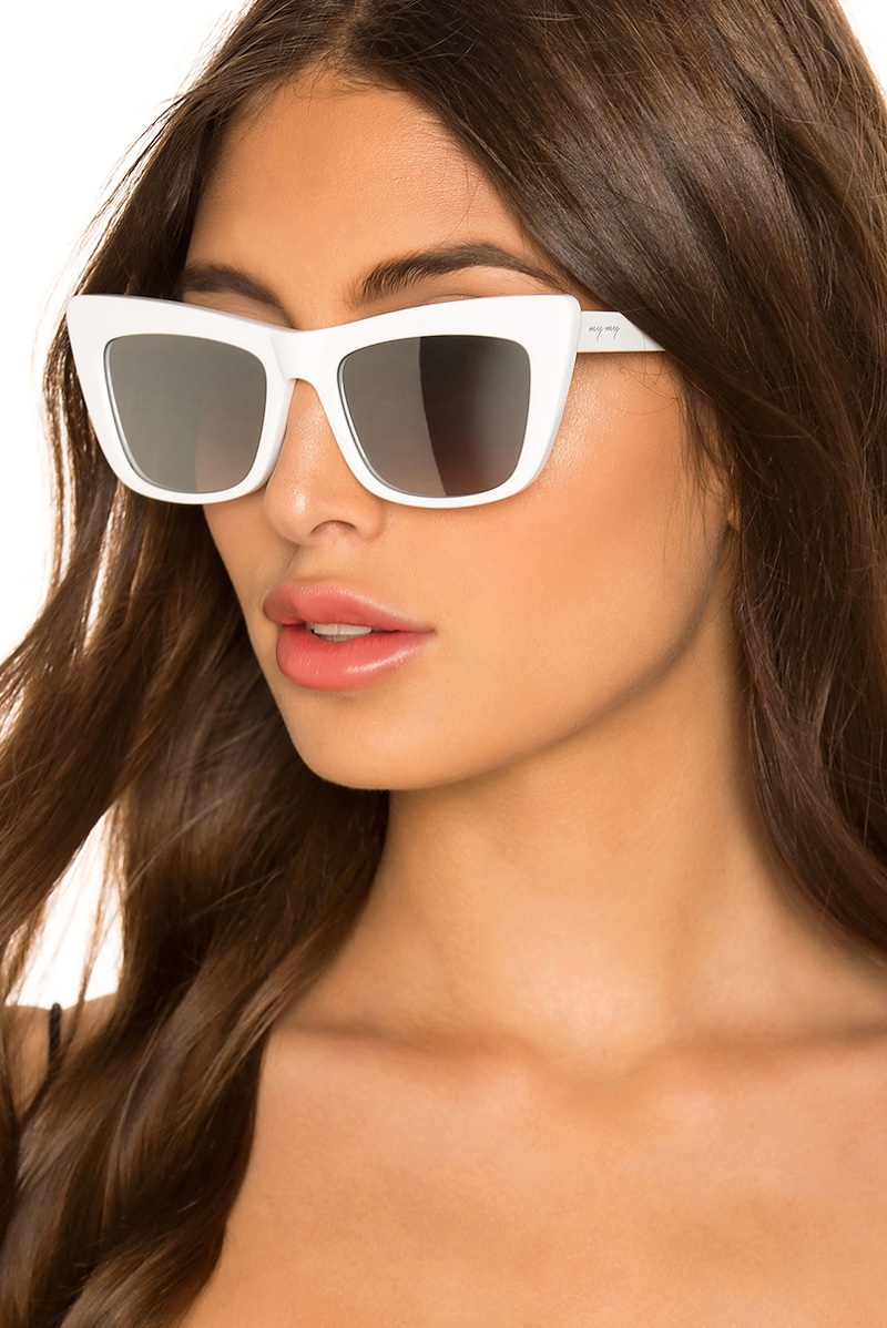 My My My Jaymes Sunglasses in White with Grey Mirror Lenses $108
