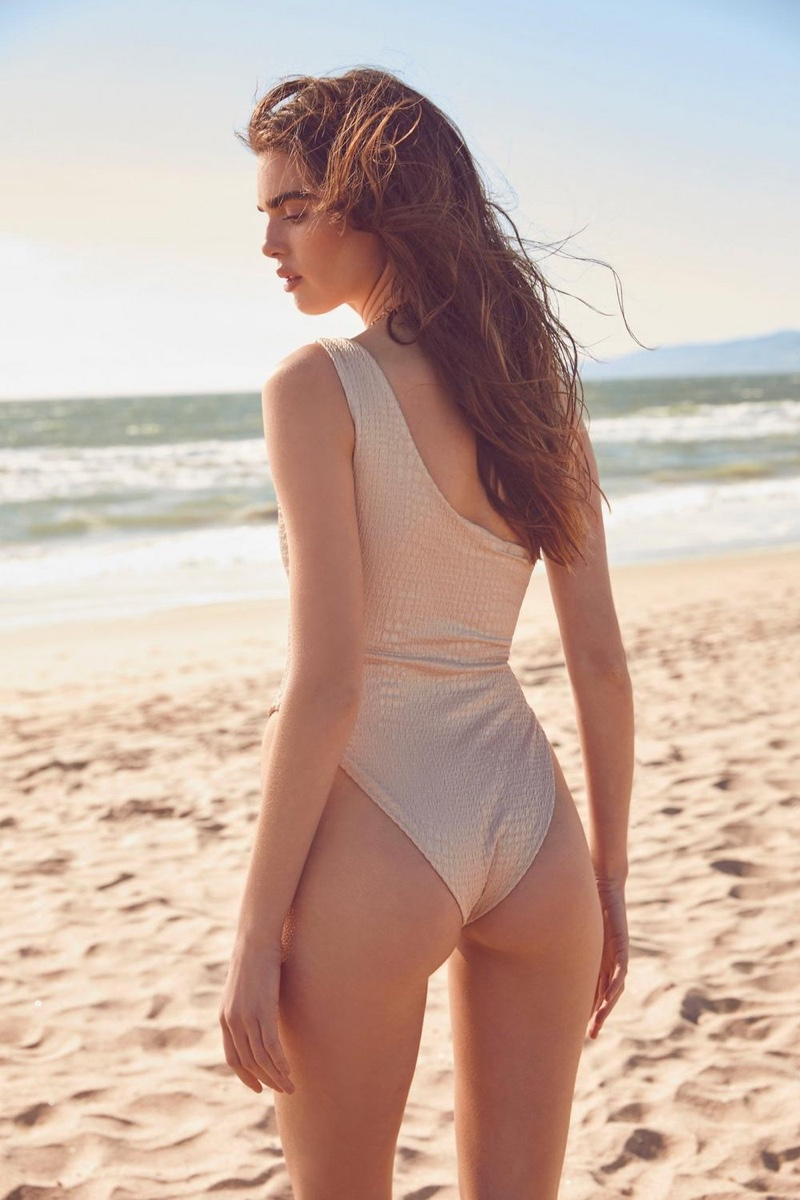 Nasty Gal Beaches in Mind Crinkle One Shoulder Swimsuit $25
