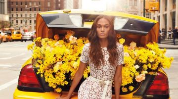Model Joan Smalls wears Michael Kors Collection for Neiman Marcus The Art of Fashion spring 2019 campaign