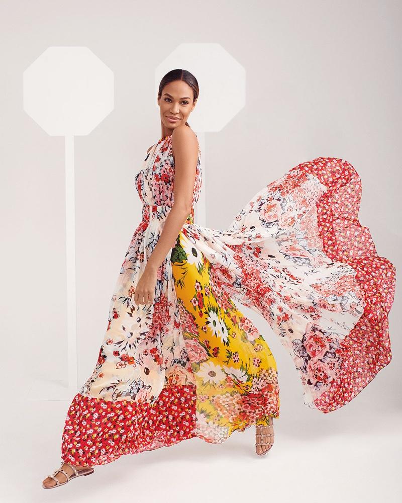 Joan Smalls poses in Carolina Herrera for Neiman Marcus The Art of Fashion spring-summer 2019 campaign