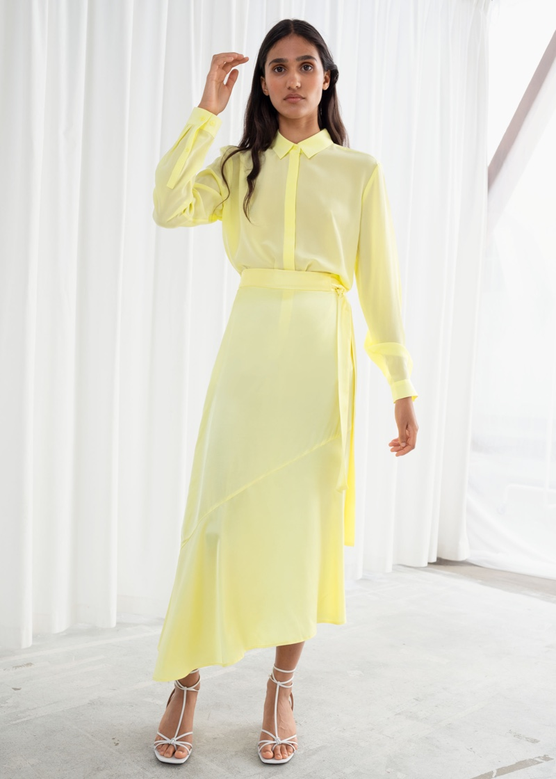 & Other Stories Asymmetric Satin Midi Skirt $79