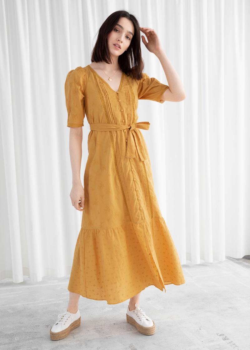 & Other Stories Belted Floral Schiffli Cotton Midi Dress $129