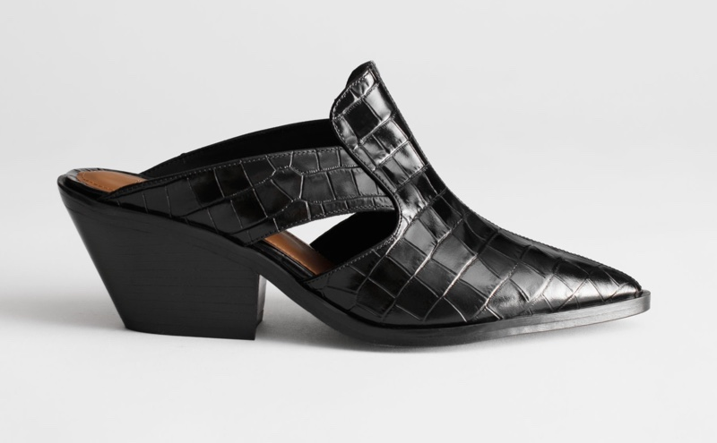 & Other Stories Cuban Heel Patent Croc Mules $149