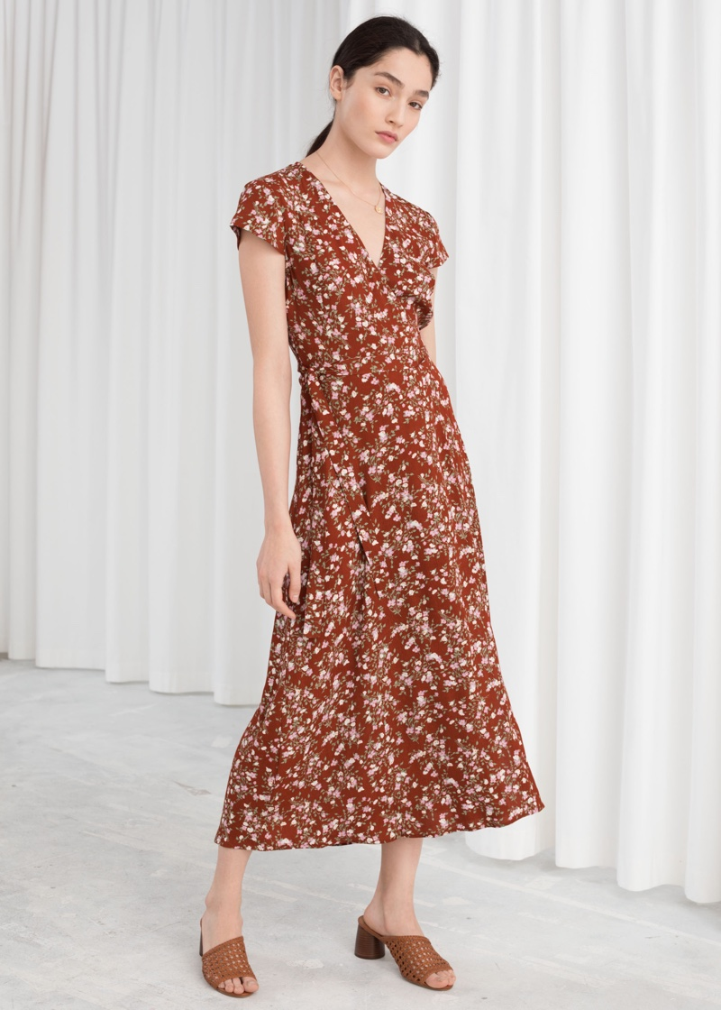 & Other Stories Floral Midi Wrap Dress $99