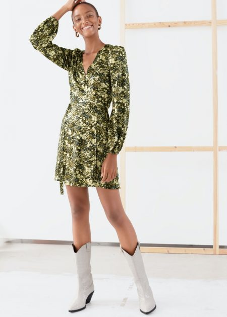 & Other Stories Floral Puff Sleeve Mini Wrap Dress $49 (previously $99)