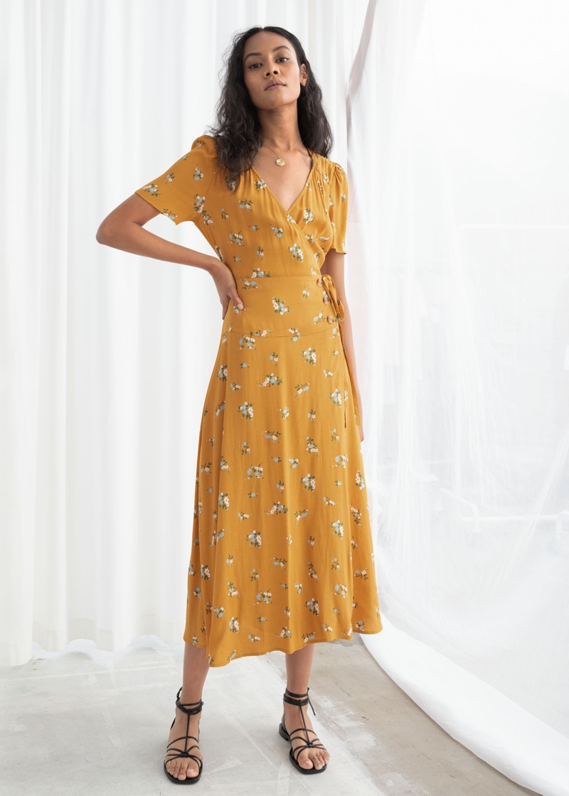 & Other Stories Flowy Wrap Midi Dress in Yellow Floral $99