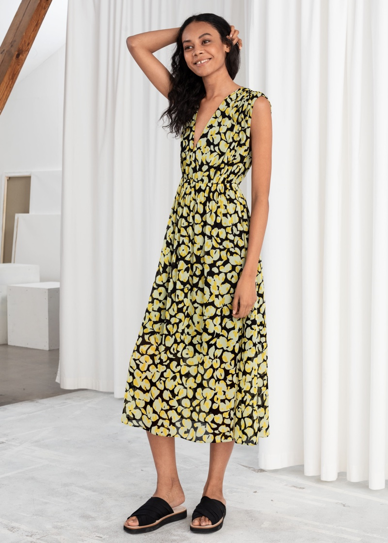 & Other Stories Gathered Floral Midi Dress $129
