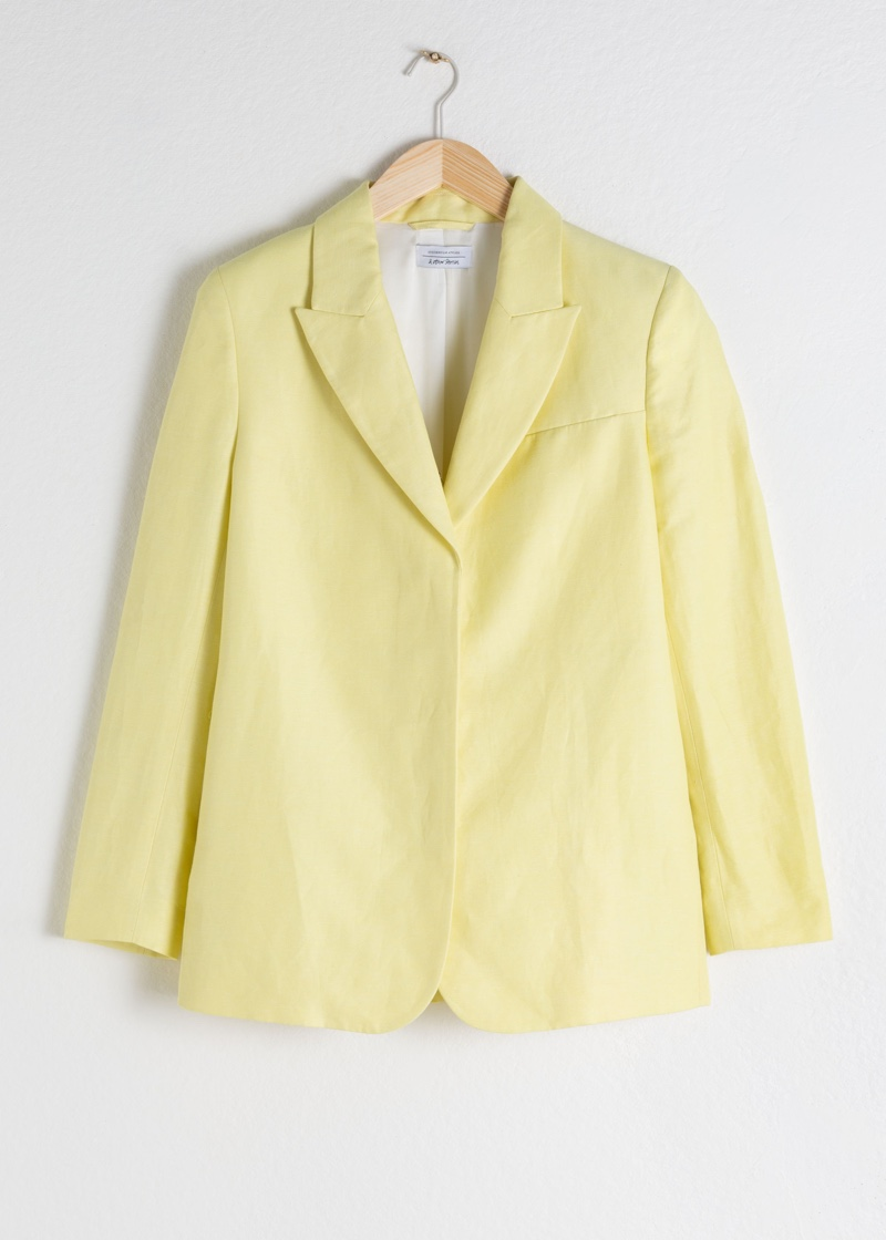 & Other Stories Oversized Linen Blend Blazer in Light Yellow $129