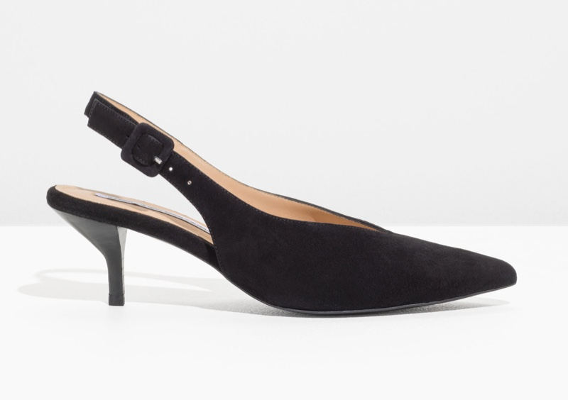 & Other Stories Pointed Suede Kitten Heels $65 (previously $129)