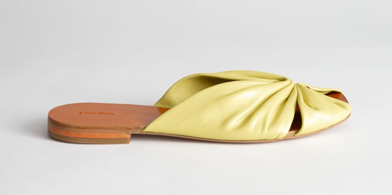 & Other Stories Square Toe Gathered Leather Sandals $99
