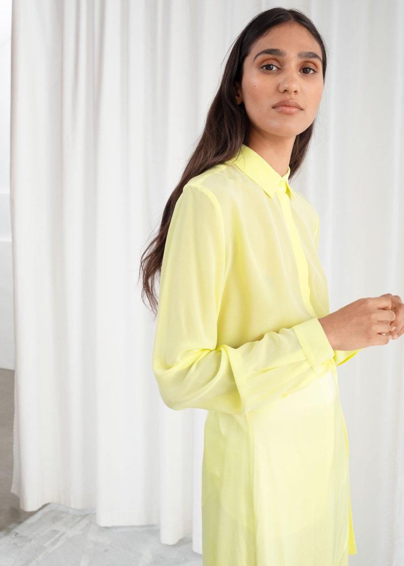 & Other Stories Straight Fit Silk Shirt in Yellow $99