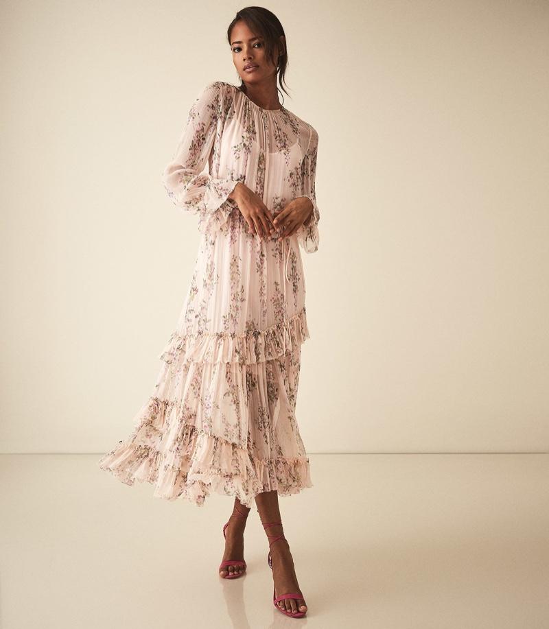 REISS Amber Floral Printed Midi Dress $495