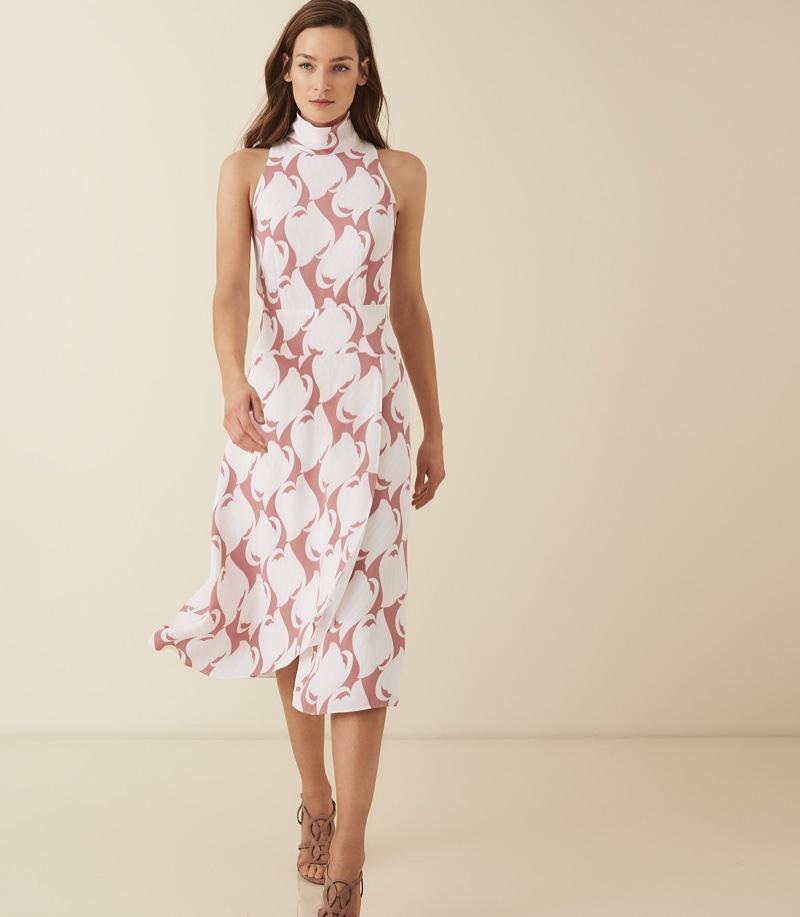 REISS Doriana Swirl Printed High Neck Midi Dress $425