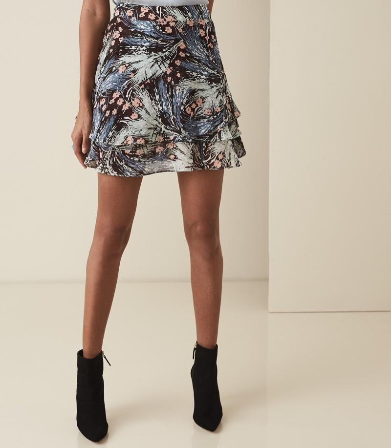 REISS Hanna Grass Printed Mini Skirt $220