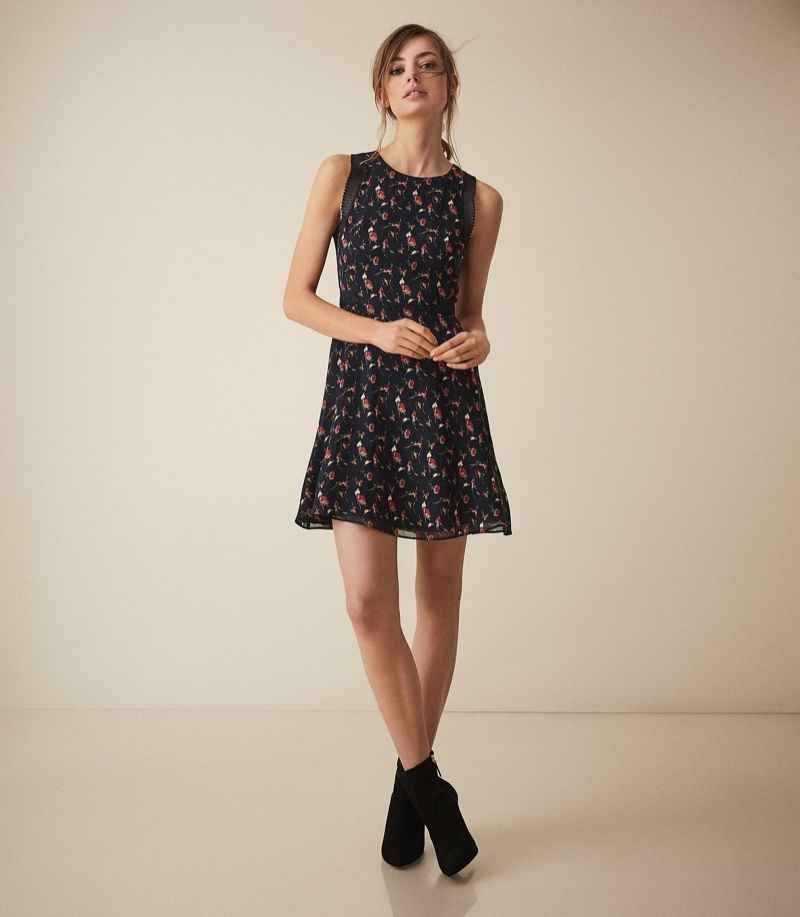 REISS Louise Floral Printed Fit and Flare Dress $320