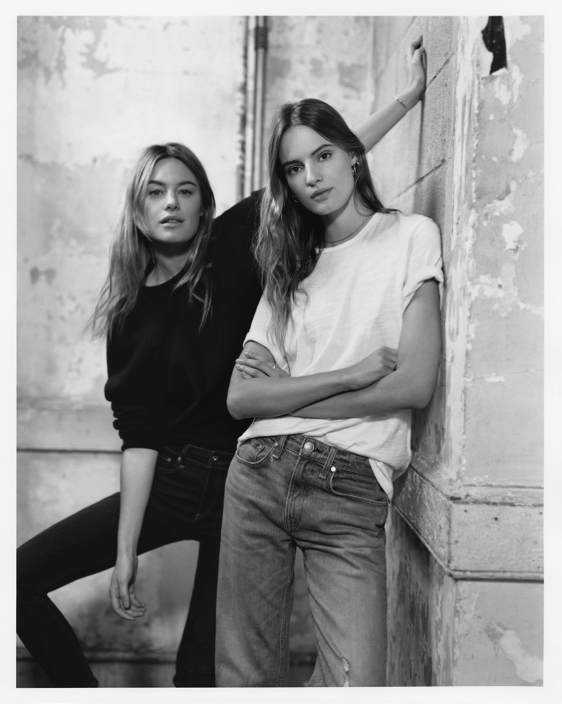 Camille Rowe and Tilda Lindstam pose in Rag & Bone spring 2019 denim styles