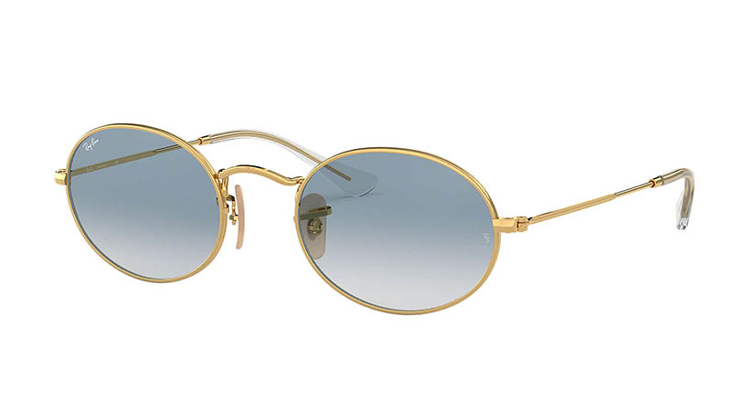 Ray-Ban Oval Flat Sunglasses in Light Blue Gradient $168