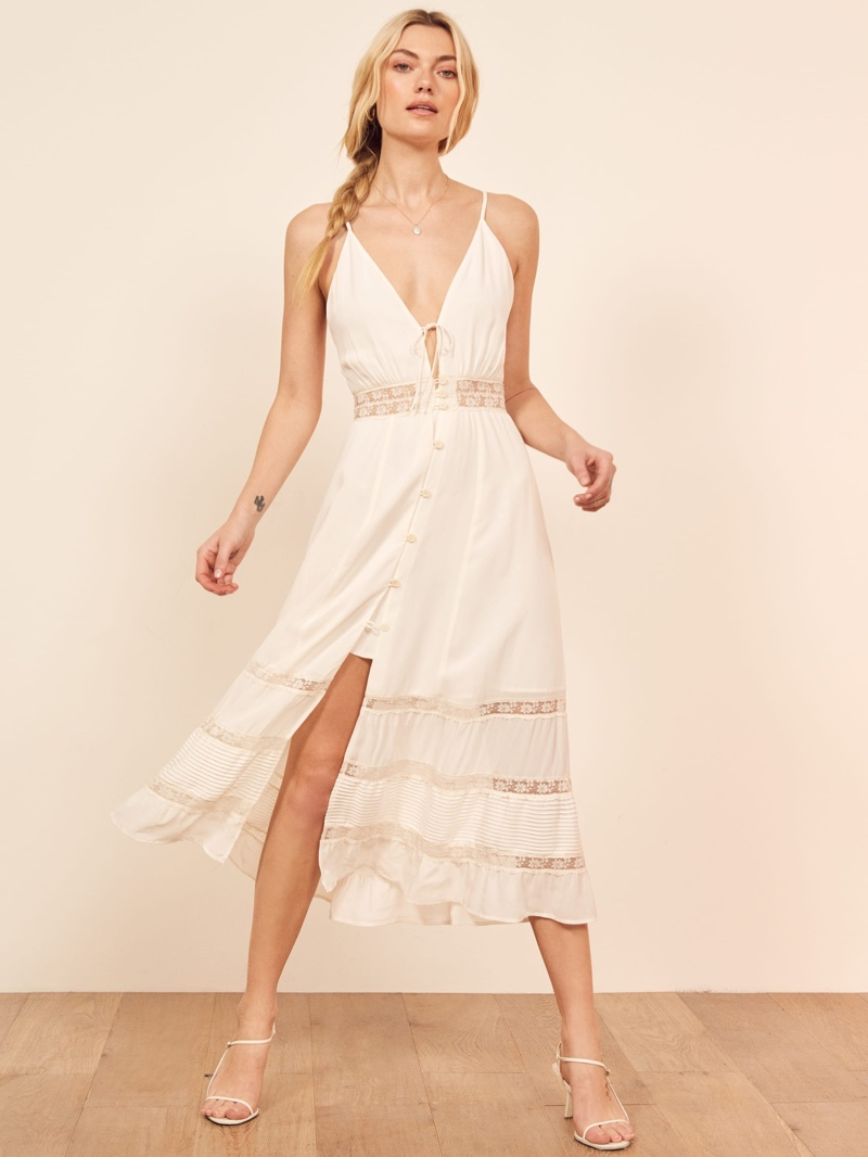 Reformation Shelley Dress in Ivory $248