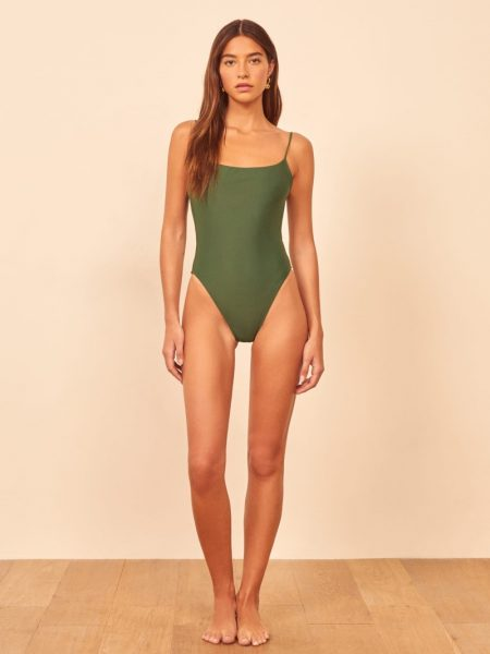 Reformation Wave One Piece Swimsuit in Forest Green $98