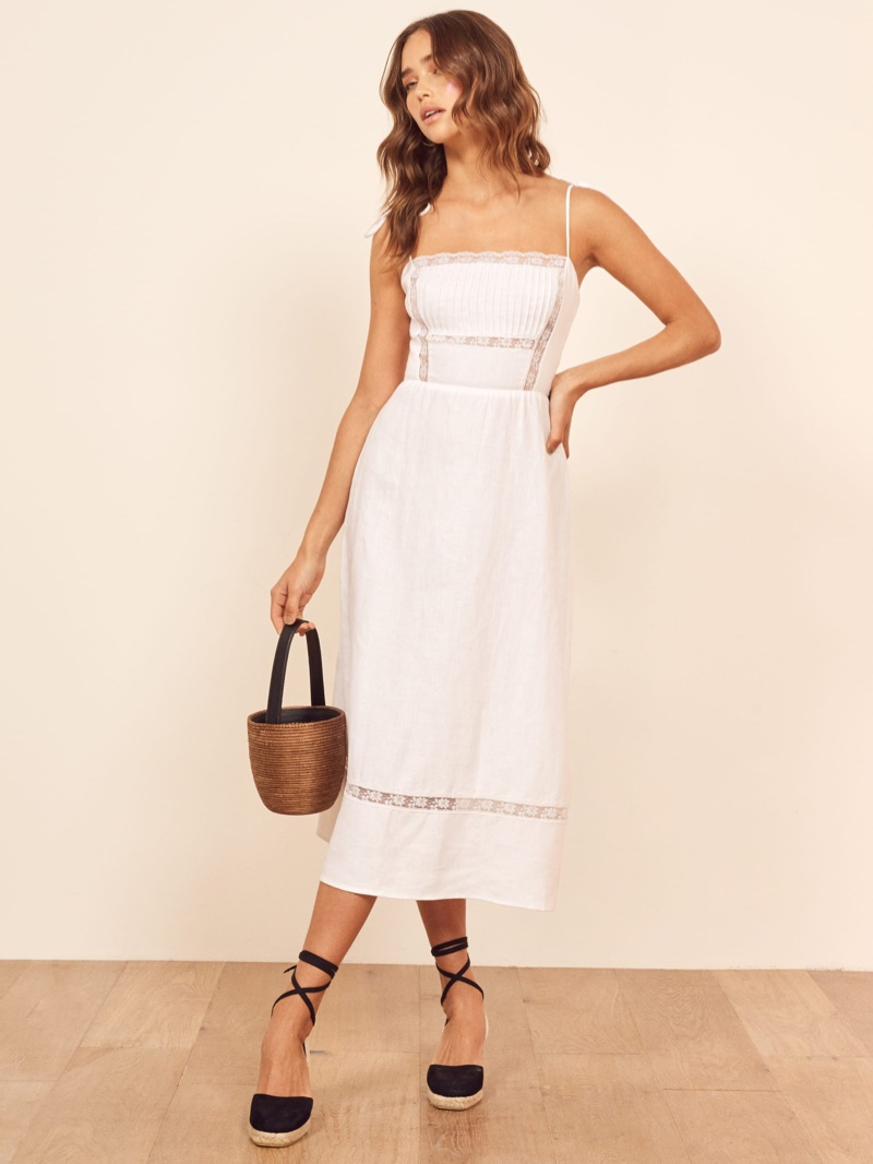 Reformation Wyoming Dress in White $248
