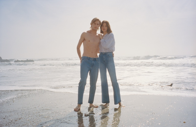 Neels Visser and Hailey Clauson appear in Rolla's Denim spring-summer 2019 campaign