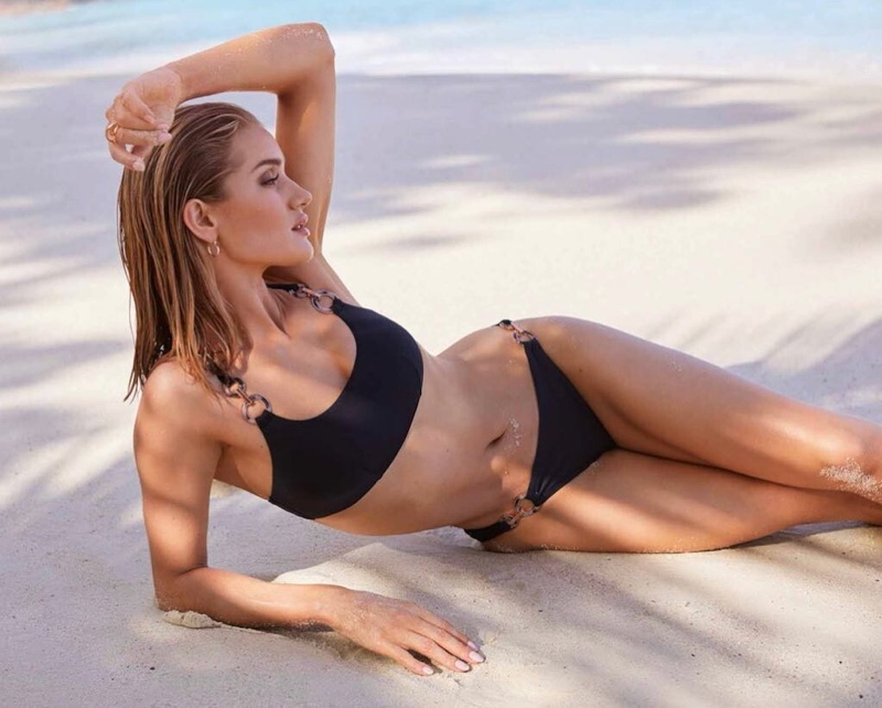 Posing in a black bikini, Rosie Huntington-Whiteley fronts Marks and Spencer Swim 2019 campaign