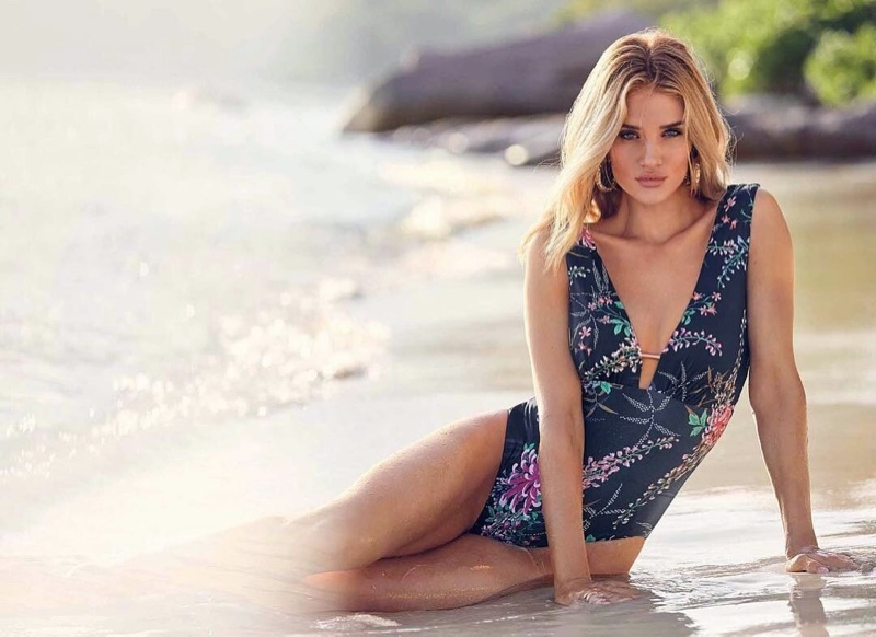 Posing on the beach, Rosie Huntington-Whiteley fronts Marks & Spencer Swim 2019 campaign