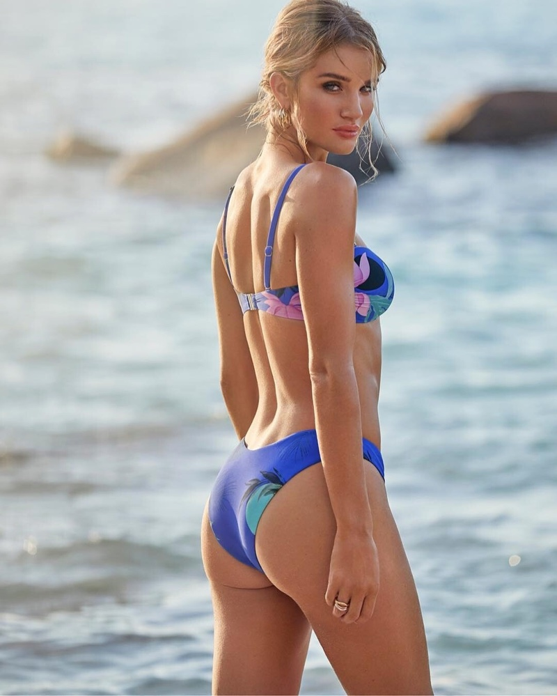 Model Rosie Huntington-Whiteley wears her latest swimsuit collaboration with Marks & Spencer