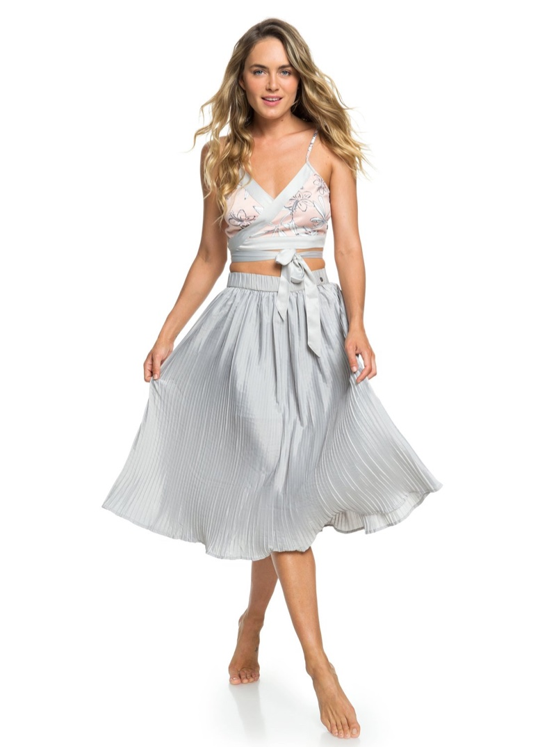 Roxy Sister H and K To The Sun Pleated Midi Skirt $70