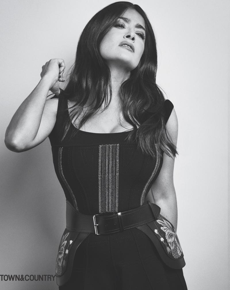 Salma Hayek wears Alexander McQueen corset dress and belt