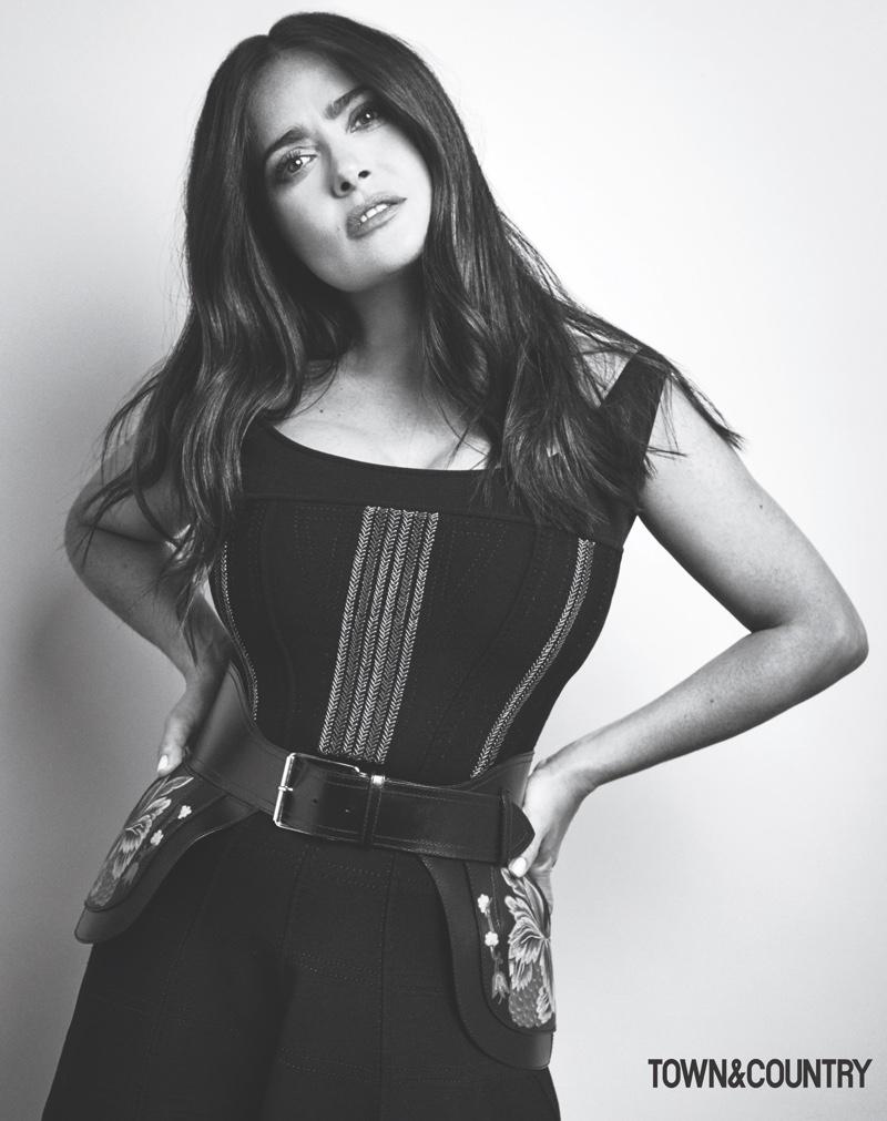 Salma Hayek strikes a pose in this black and white shot