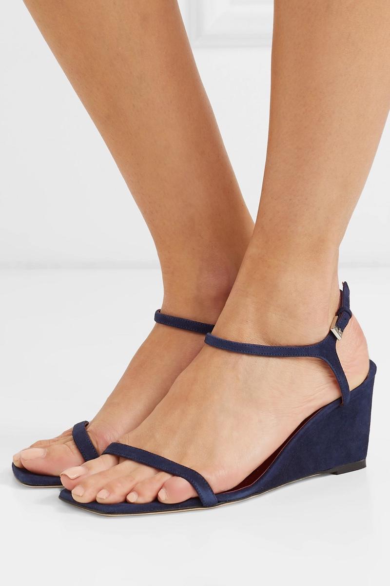 Staud Astrid Suede Wedge Sandals $275