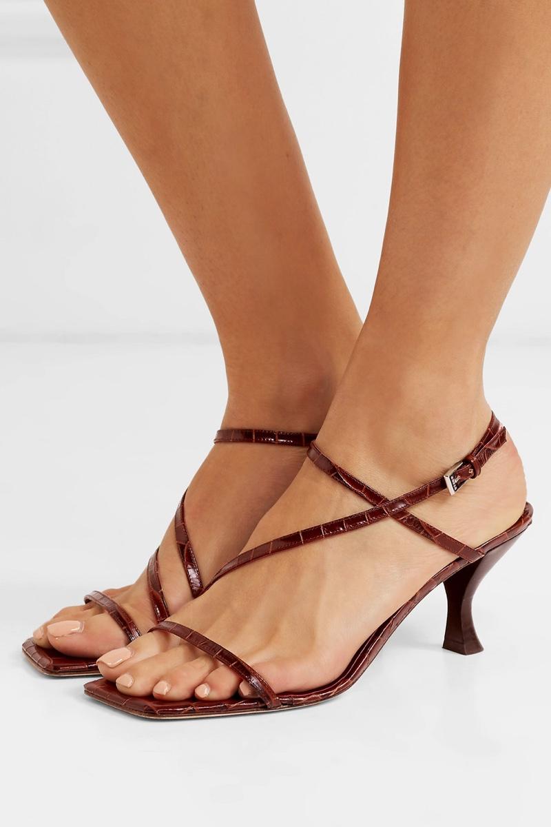 Staud Gita Croc-Effect Leather Sandals $325