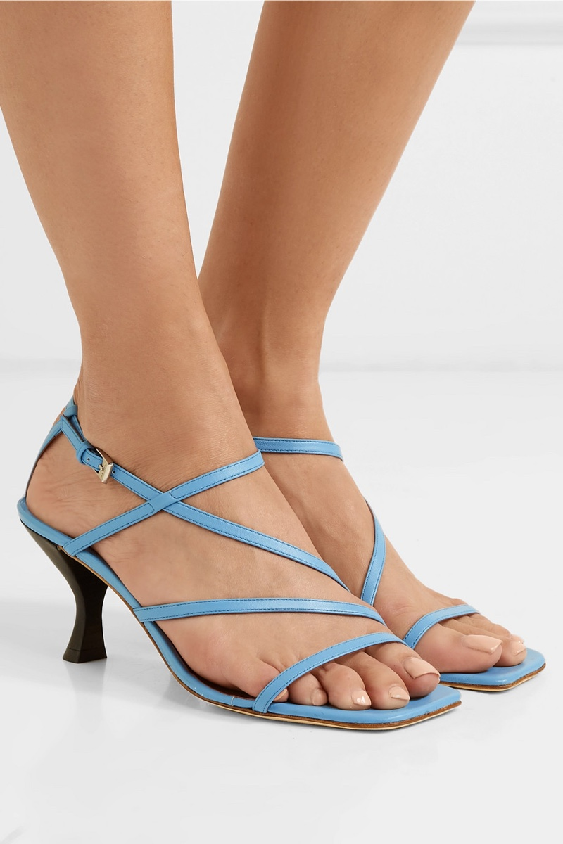 Staud Gita Leather Sandals in Blue $325