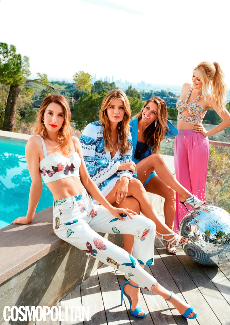 The cast of The Hills reboot poses poolside for the photoshoot