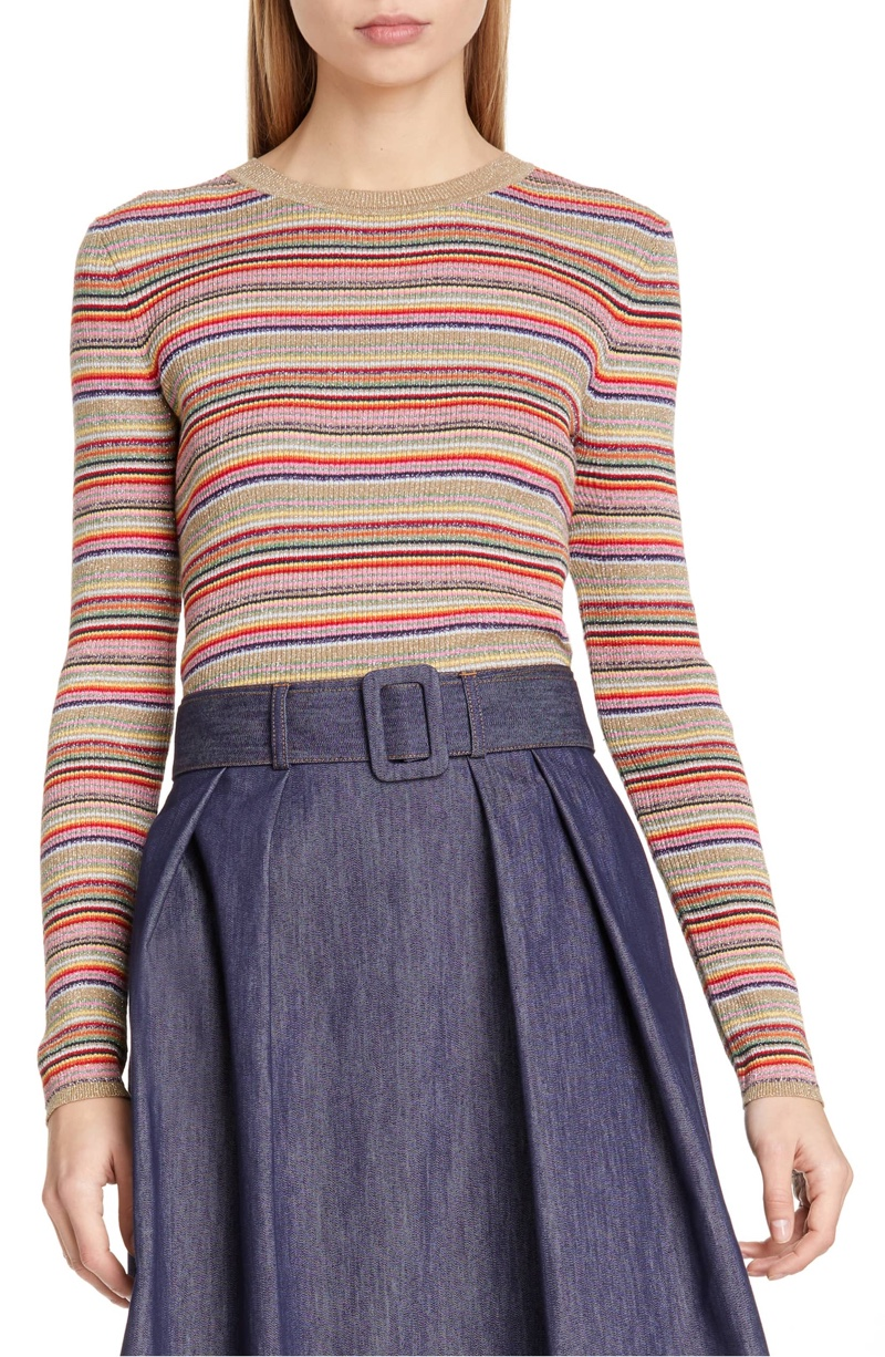 Tommy x Zendaya Metallic Stripe Knit Top $149.50
