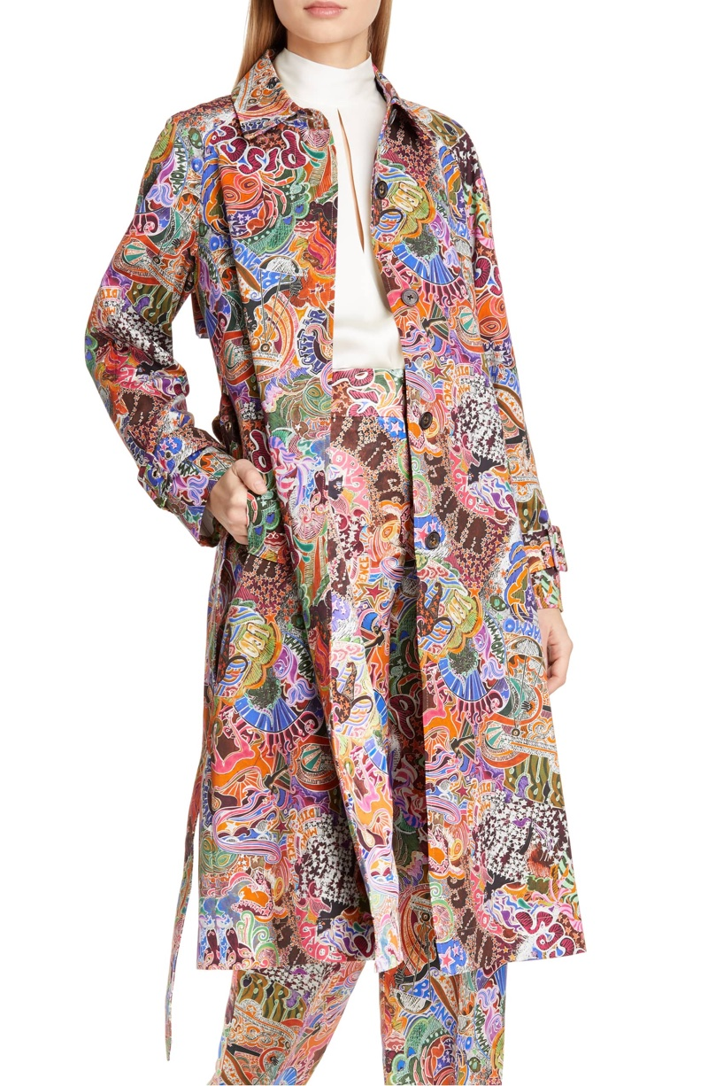 Tommy x Zendaya Zodiac Print Cotton Trench Coat $425