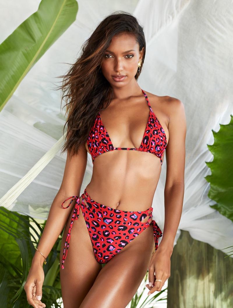 Jasmine Tookes poses in Victoria's Secret bikini set