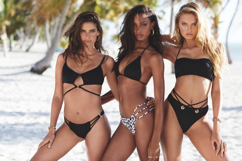 Sara Sampaio, Jasmine Tookes and Romee Strijd wear Victoria's Secret 2019 swimsuit styles