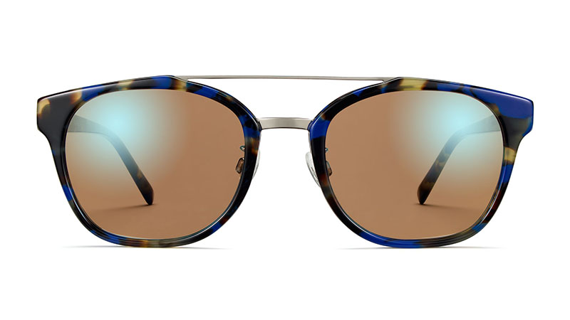 Warby Parker Fairfax Sunglasses in Cobalt Tortoise with Polished Silver $145