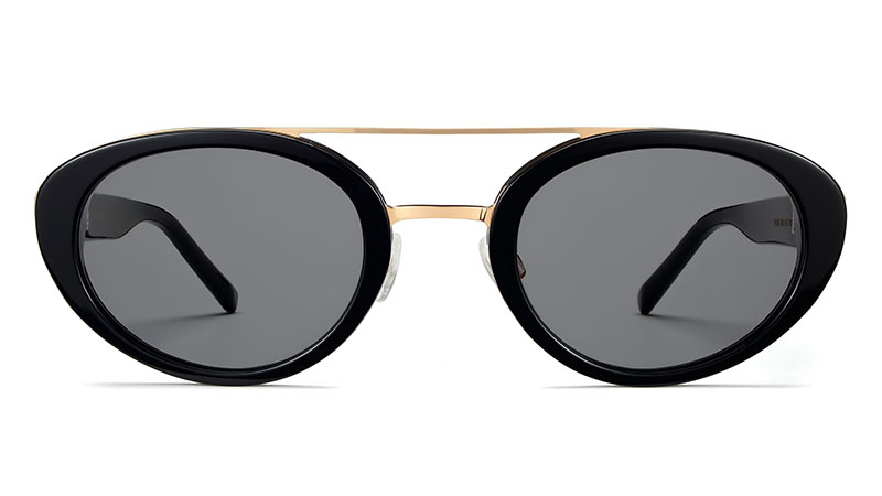 Warby Parker Sylvie Sunglasses in Jet Black with Polished Gold $145