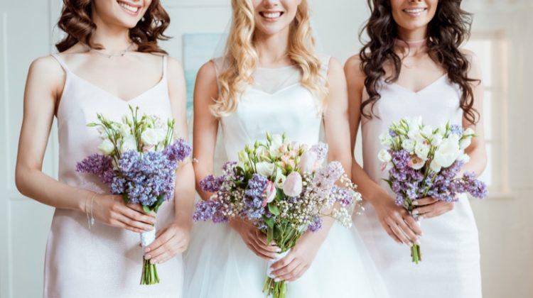 Wedding Party with Bride & Bridesmaids Colorful Bouquets
