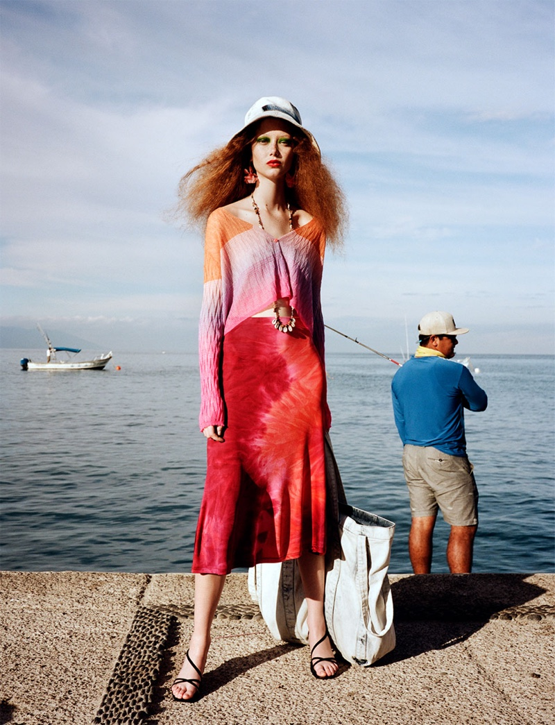 Zara Multi-Colored Cardigan, Tie-Dye Skirt, Strap Sandals and Denim Shopper Bag