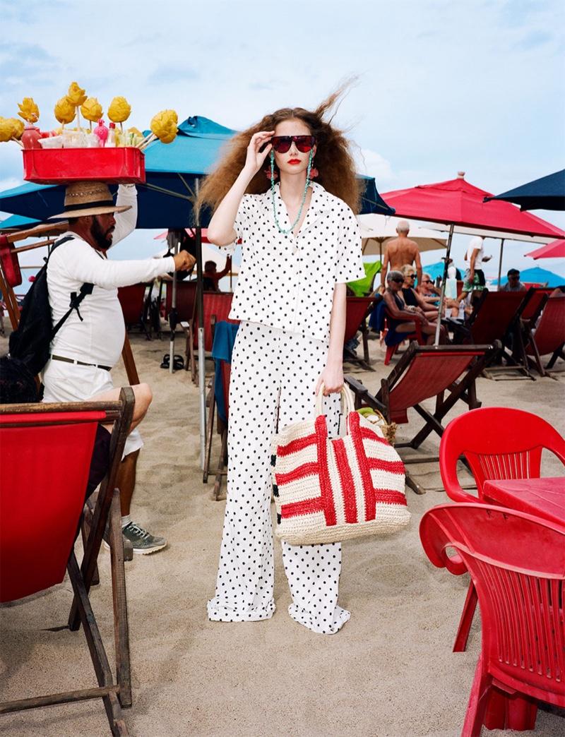 Zara Wrinkled Polka Dot Shirt, Wrinkled Polka Dot Pants and Tote Bag
