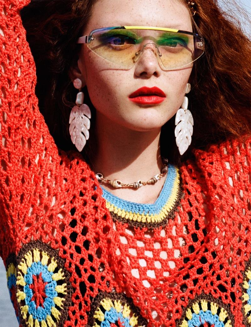 Sara Grace Wallerstedt  wears Zara Crochet Dress and Mother-of-Pearl Effect Leaf Earrings