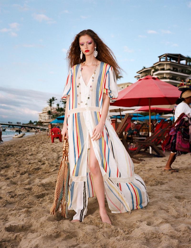Sara Grace Wallerstedt models Zara contrast striped dress and natural cord bucket bag