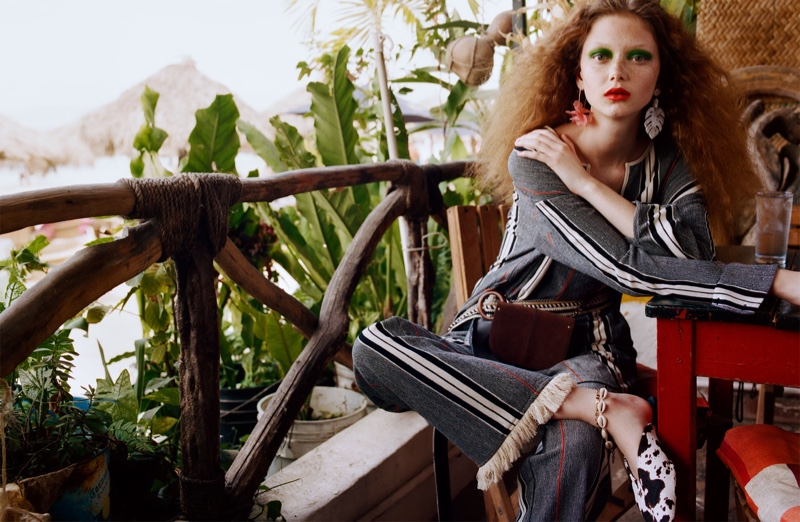 Zara Striped Shirt, Fringed Striped Pants, Animal Print Leather Mules and Crossbody Belt Bag