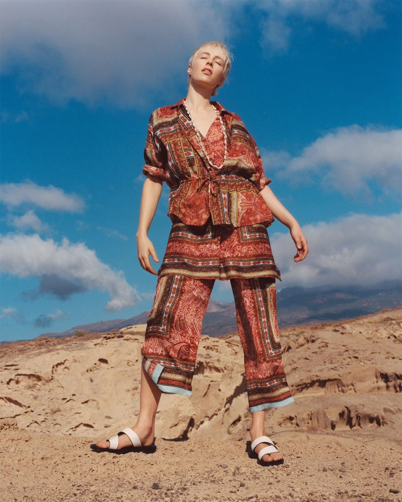 Zara enlists Edie Campbell for Spice Trail spring-summer 2019 lookbook