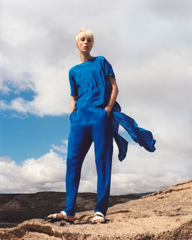 Edie Campbell models Zara asymmetric tunic, flowy pants and Join Life flat sandals