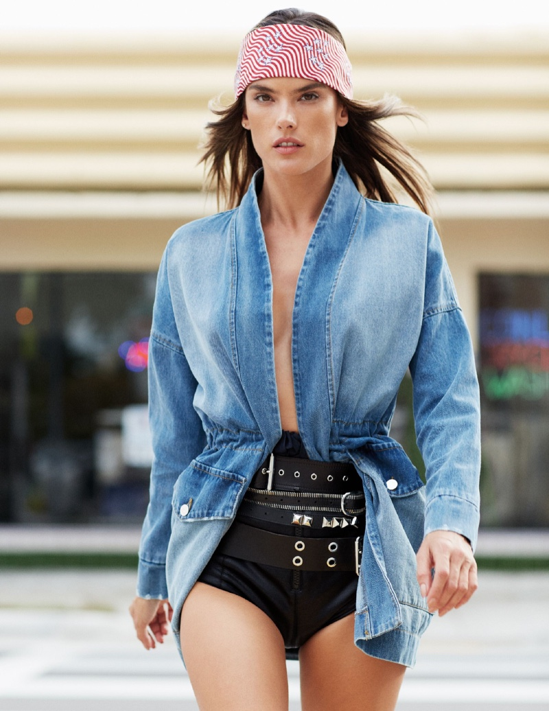 Alessandra Ambrosio Poses in Effortlessly Cool Looks for ELLE Italy